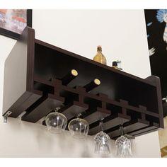 Walnut Modern Mounting Wine Rack | Overstock.com