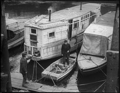 Houseboats - Charlestown Bridge, 1917 - 1934. via Boston Public Library on Flickr. - http://bassman5911.tumblr.com/ Date Posted Icon 7th August 2014