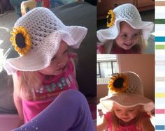 Ruffled Brim Sunhat - free crochet pattern for child's hat and sunflower adornment. The sunflower pattern can be found on her website in the archives for September 26, 2011.  Or go to this Pin: http://pinterest.com/pin/408068416206829146/.
