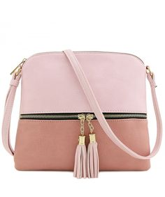 Buy Tassel Accent Medium Crossbody Bag - Blush/Mauve - and More Fashion Bags at Affordable Prices. Best Purses, Cute Purses, Purses And Bags, Women's Bags, Latest Handbags, Fashion Handbags, Fashion Bags, Women's Fashion, Purses