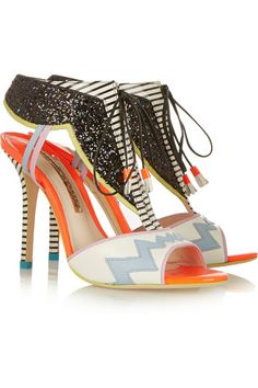 Heel measures approximately 100mm/ 4 inches Multicolored leather Lace-up front