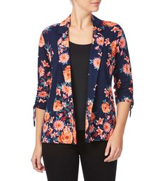 Rockmans Elbow Gathered Sleeve Floral Print Jacket