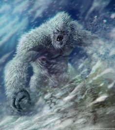 Yeti (Illustration 2), Another illustration of a Yeti. A Yeti or Abominable Snowman is said to be an ape-like cryptid taller than an average human, similar to Bigfoot, that inhabits the Himalayan region of Nepal, and Tibet. The existence of a Yeti has never been proven.