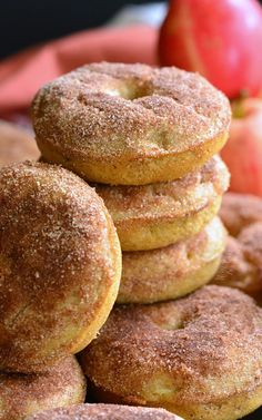 Soft, flavorful baked doughnuts that come with a whole lot of fall happiness in every bite. These delicious cake-like doughnuts are made with apple pie filling throughout and topped with some cinnamon sugar mixture. Baked Donut Recipes, Apple Recipes Easy, Baked Doughnuts, Cinnamon Recipes, Simple Recipes, Cinnamon Rolls, Baked Apple Dessert, Apple Dessert Recipes, Baking Recipes