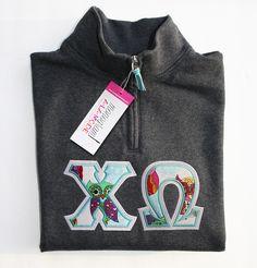 1/4 Zip Chi Omega Greek Letter Applique Sweatshirt with Owls by monogramalamodeshop on Etsy https://www.etsy.com/listing/220003518/14-zip-chi-omega-greek-letter-applique Sorority Sweatshirt, Sorority Letters