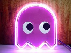 Pacman ghost neon sign