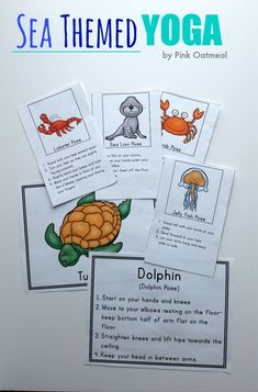 Sea Themed Yoga - A great way to incorporate movement at home, in the classroom or at therapy!  I can't wait to use these!
