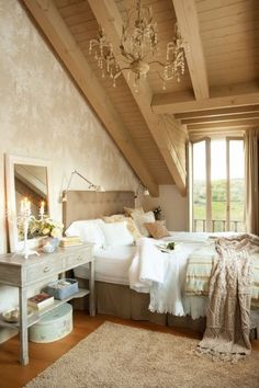 bedroom shabby chic style inclined wooden ceiling suspension and vanity mirror and sconce