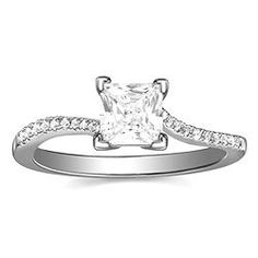 Engagement Ring with 0.09 CT. T.W. side diamonds, Princess Shape