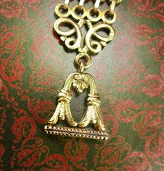 Antique watch fob Chain Initial WHG or WJ CG by vintagesparkles