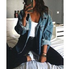 adidas, bed, bedroom, black, brunette, casual, clothes, denim, fashion, girl, gold, hair, iphone, jacket, jeans, jewellery, outfit, rock, shirt, shoes, style, white, First set