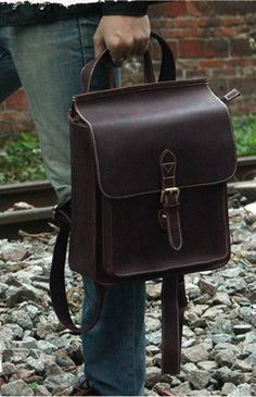 Dark Brown Student Leather Backpack Organizer Book Bag - Notebook