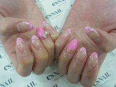 Pink tweed nail
