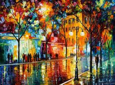 """The Tears Of The Fall — PALETTE KNIFE Original CityScape Oil Painting On Canvas By Leonid Afremov - Size: 40""""x 30"""" (100cm x 75cm)"""