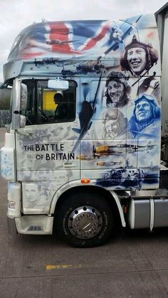 "DAF Never was so much owed by so many to so few"" was a wartime speech made by the British Prime Minister Winston Churchill on 20 August Show Trucks, Big Rig Trucks, Custom Big Rigs, Custom Trucks, Scania V8, Truck Paint, Road Train, Rock And Roll, Airbrush Art"