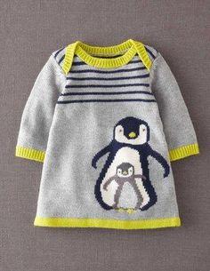 Ich habe das auf @BodenDirect entdeckt. My Baby Strickkleid Grau Pinguin