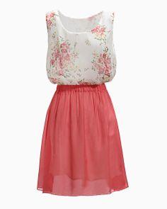 Melon Red Sleeveless Floral Pattern Chiffon Dress