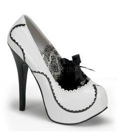 Bordello Teeze White & Black Patent Stilettos