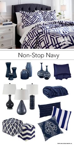 Non-Stop Navy - Navy Blue Bedroom - Bedding and Accessories - Ashley Furniture - #AshleyFurniture - #NavyBlue