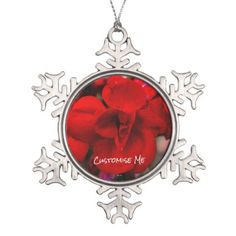 Scarlet Begonias Snowflake Pewter Christmas Ornament - red gifts color style cyo diy personalize unique