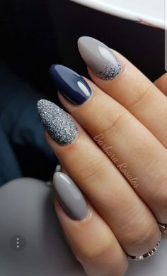 There are three kinds of fake nails which all come from the family of plastics. Acrylic nails are a liquid and powder mix. They are mixed in front of you and then they are brushed onto your nails and shaped. These nails are air dried. Grey Nail Art, Gray Nails, Navy Blue Nails, Blue And Silver Nails, Blue Gel Nails, Grey Art, Silver Glitter, Blue Glitter Nails, Shellac Colors