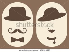 retro lady and gentleman symbol - stock vector
