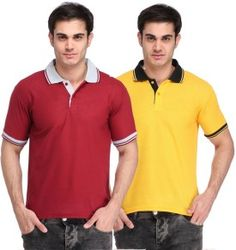 Lime Solid Men's Polo Neck Maroon, Yellow T-Shirt