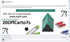 20% off cartomizers 7secigs 20OffCarto7s at checkout! http://www.my7s.com  #ecigs #ecigarettes #eliquid #vaping