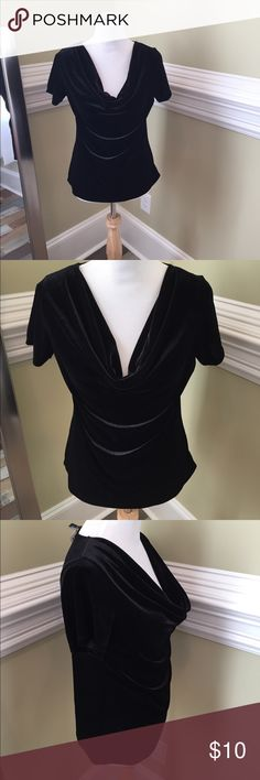NWT Petite velour Cowl  neck in large Super cute new with Tags Cowl neck black velour Blouse .  Fabric see Tags . jasonmaxwell Tops Blouses
