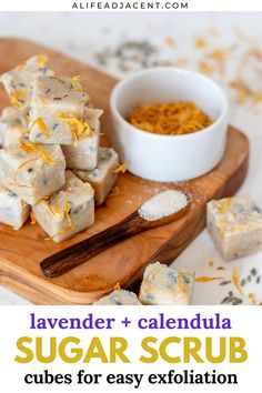 These lavender calendula sugar scrub cubes are perfect for easy exfoliation in the shower. Grab a handful to cleanse, exfoliate and moisturize your skin all in one simple step. Learn how to make DIY sugar scrub cubes for your fall skincare routine. With natural ingredients like shea butter, sugar, melt and pour soap base and essential oils, these body scrubs are easy to make and smell like a fall bouquet.