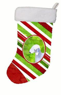 Bedlington Terrier Winter Snowflakes Christmas Stocking SS4552