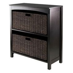 <3 Winsome Terrace 3 Tier Storage Shelf with 2 Large Baskets $99.90 at walmart.com (from wayfair.com).   Product in Inches (L x W x H): 11.81 x 25.98 x 30.0.  Color/finish: Espresso/chocolate finish.  Features:  Basket made from Corn husk, Open two sections to store baskets.  WN1739