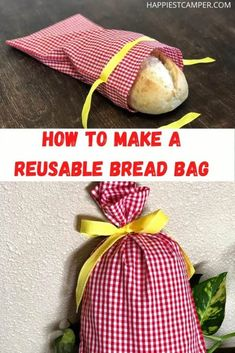 Do you make your own bread? Even if you don't, you can try this quick and easy Reusable Bread Bag! Zero-Waste bread bag that gives you somewhere to store your bread. Easy sewing project.  Earth-friendly bag DIY. Quick Sewing project you can make in minutes. Fun kid project. How To Make A Reusable Bread Bag First Sewing Projects, Fun Projects For Kids, Fun Crafts To Do, Sewing Projects For Beginners, Sewing Tutorials, Sewing Ideas, Diy Projects, Bread Bags, How To Make Bread
