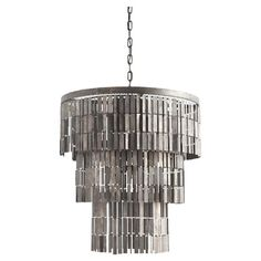 Add a striking focal point to your dining room or parlor with this eye-catching chandelier, featuring a cascade of metal tags arranged in descending tiers.
