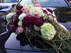 #Blumengesteck, #Blumen für das #hochzeitsauto mit Dahlien und Hortensie, #hochzeit in #Hamburg #eimsbüttel #eppendorf #altona