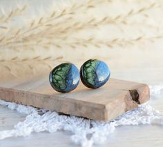 Wooden earrings natural organic ear studs with sterling