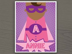 Personalized Superhero Nursery Art - Printable Wall Art - Baby Girl - Pink & Purple. $7.25, via Etsy  | Color Options