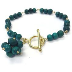Forest Green Bracelet Turquoise Gemstone by jewelrybycarmal, $40.00