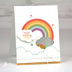 Sunshine & Rainbows card created by Charlet Mallett for Stampin' Up! Homemade Birthday Cards, Birthday Cards For Mum, Rainbow Card, Hand Made Greeting Cards, Interactive Cards, Shaker Cards, Get Well Cards, Cool Cards, Kids Cards