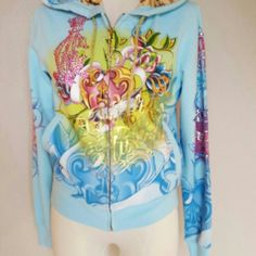 """CHRISTIAN AUDIGER WOMENS HOODIE """"HEART LOCKET"""" MED CHRISTIAN AUDIGER WOMENS RHINESTONE-SILK LINING-ZIP UP HOODIE """"HEART LOCKET"""" SIZE MEDIUM PREOWNED EXCELLANT CONDITION Christian Audigier Sweaters"""