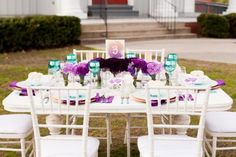 Plum, peach and teal ombre tablescape!