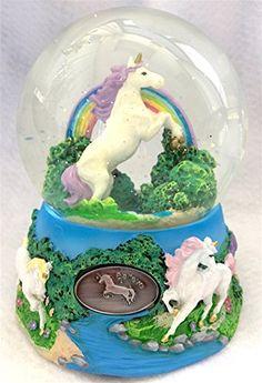 Unicorn Over the Rainbow Enchanted Fantasy Musical Glitterdome Snow Globe