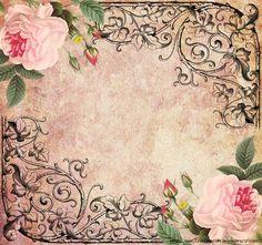 Pink Roses with black filigree corners 6 (700x655, 576Kb)
