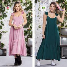 Vestidos de silueta semi ajustada ¡Oh si! Dos colores muy ganadores para cualquier día de la semana.💚💗