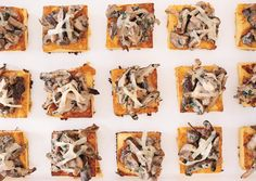 Wild mushroom ragout on crispy polenta - polenta and mushrooms can be cooked a day ahead. On the day, need to crisp the polenta, add creme fraiche to mushrooms and serve. One Bite Appetizers, Appetizers For Party, Appetizer Recipes, Vegetarian Appetizers, Appetizer Ideas, Vegetarian Meals, Yummy Appetizers, Party Snacks, Recipes Dinner