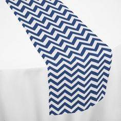 Navy Chevron Table Runner by Chair Covers & Linens