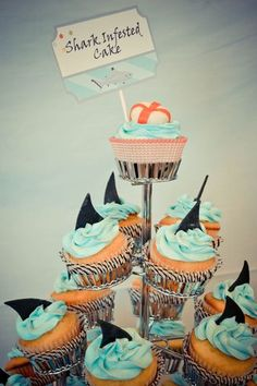 shark-themed birthday party with shark fin cupcakes