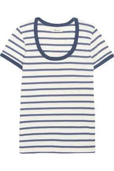 Cream and navy cotton-jersey Slips on 100% cotton Machine wash  Imported