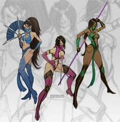"""comicsforever: """"Mortal Kombat Gals: Kitana, Millena, Jade // pencils, inks and colors by Yassir Seeso (*seeso2d, 2011) """" more comics here"""