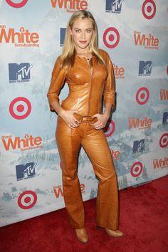 "designerleather: ""Kristanna Loken in leather catsuit "" red carpet"
